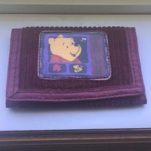 3/$20 Vintage corduroy burgundy Pooh bear wallet